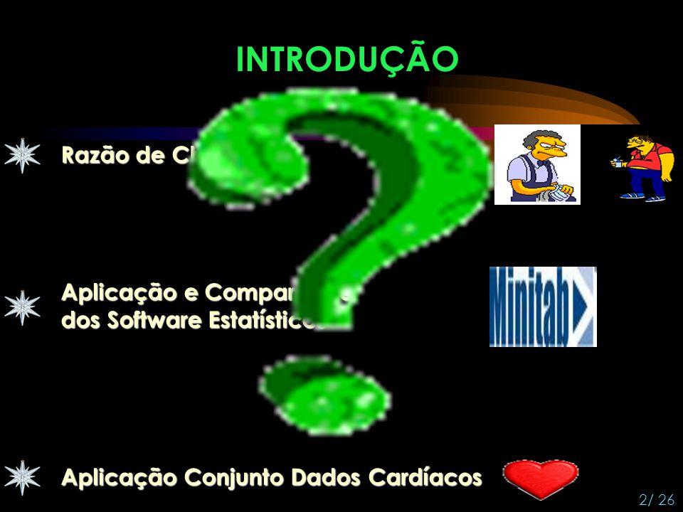 INTRODUÇÃO 2/ 26 Razão de Chances Aplicação Conjunto Dados Cardíacos Aplicação e Comparação dos Software Estatísticos