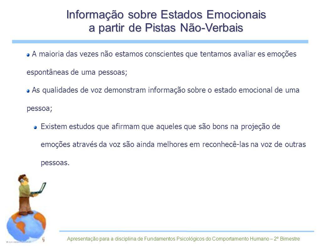 A maioria das vezes não estamos conscientes que tentamos avaliar es emoções espontâneas de uma pessoas; As qualidades de voz demonstram informação sob