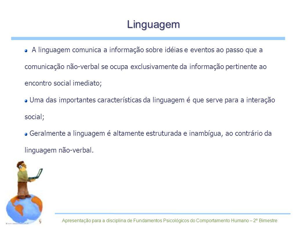 A linguagem comunica a informação sobre idéias e eventos ao passo que a comunicação não-verbal se ocupa exclusivamente da informação pertinente ao enc