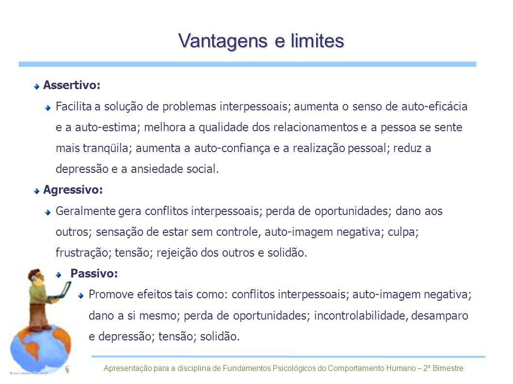 Assertivo: Facilita a solução de problemas interpessoais; aumenta o senso de auto-eficácia e a auto-estima; melhora a qualidade dos relacionamentos e