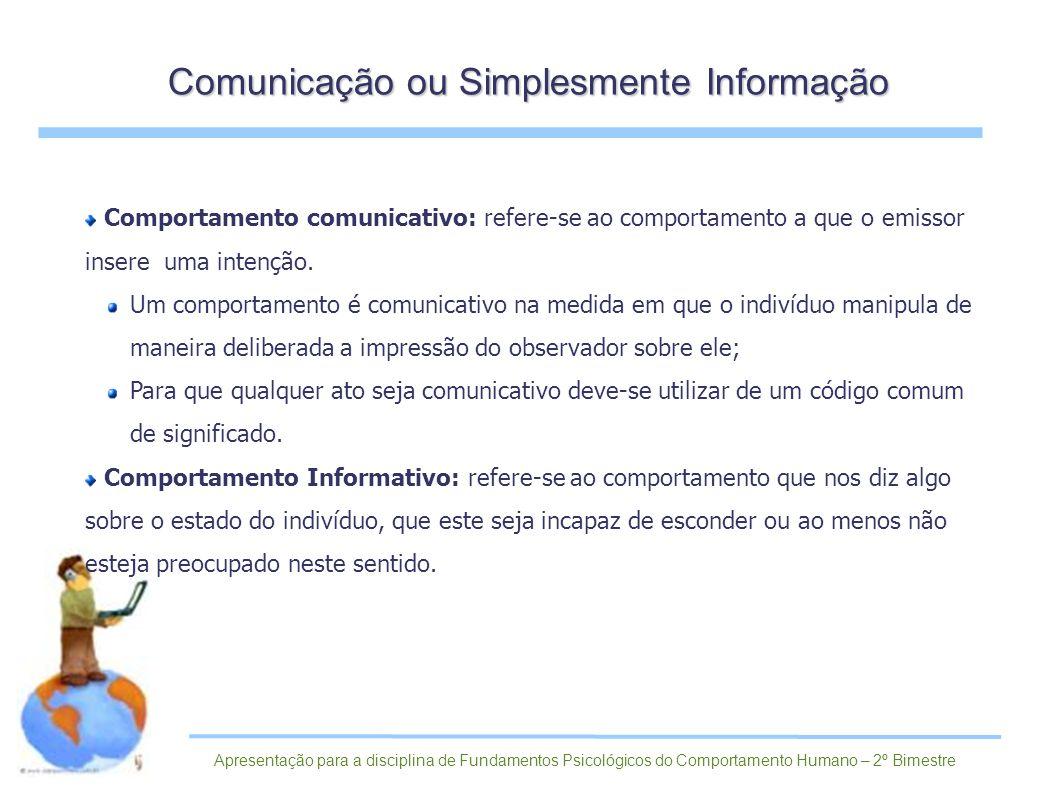 Comportamento comunicativo: refere-se ao comportamento a que o emissor insere uma intenção. Um comportamento é comunicativo na medida em que o indivíd