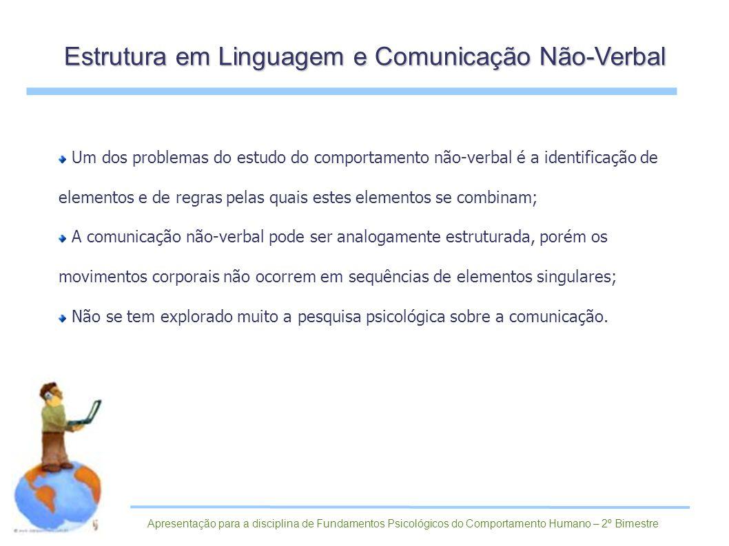 Um dos problemas do estudo do comportamento não-verbal é a identificação de elementos e de regras pelas quais estes elementos se combinam; A comunicaç