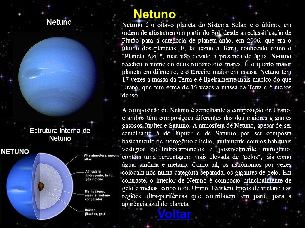 Netuno Netuno é o oitavo planeta do Sistema Solar, e o último, em ordem de afastamento a partir do Sol, desde a reclassificação de Plutão para a categoria de planeta-anão, em 2006, que era o último dos planetas.