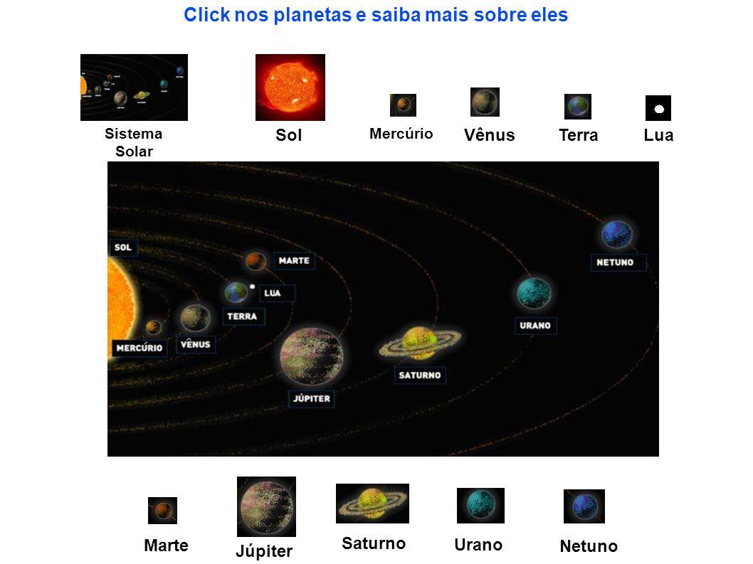 Sistema Solar Sol Mercúrio Vênus Terra Lua Marte Júpiter Saturno Urano Netuno Click nos planetas e saiba mais sobre eles