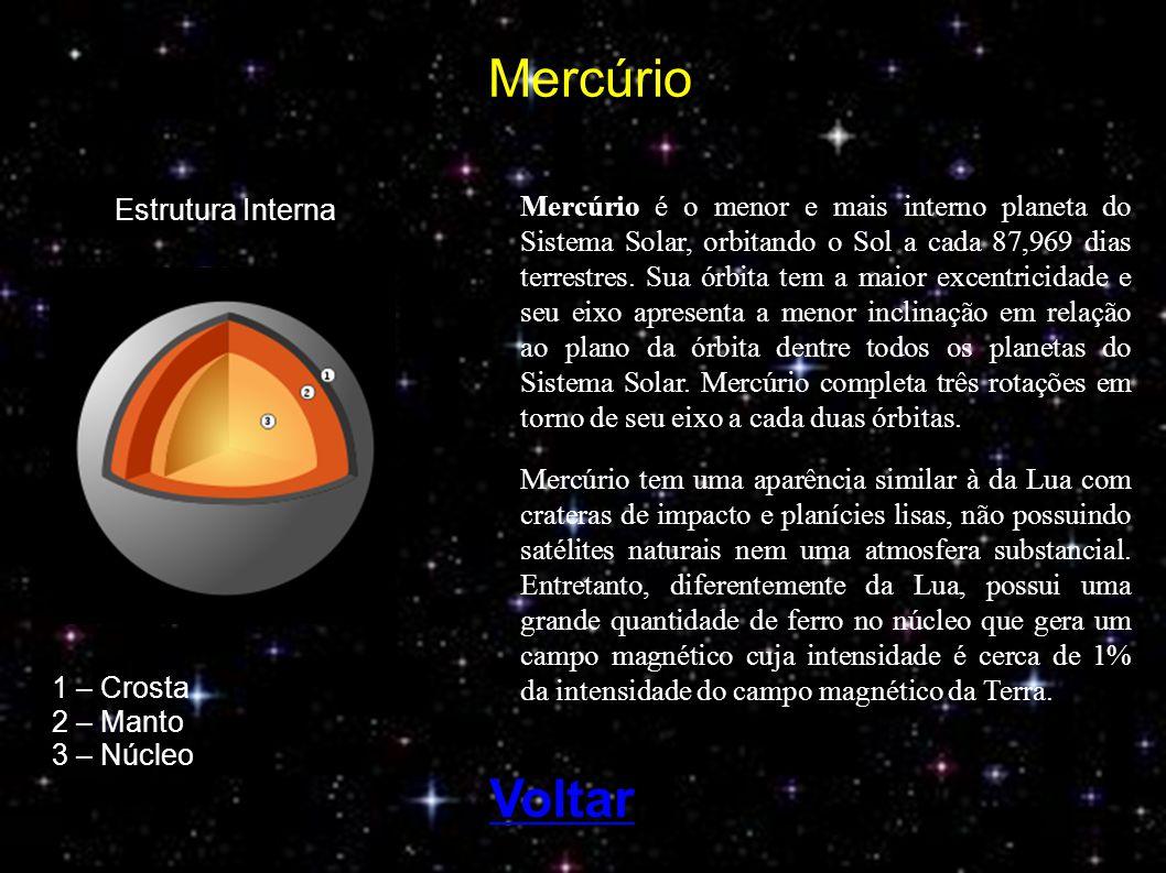 Mercúrio é o menor e mais interno planeta do Sistema Solar, orbitando o Sol a cada 87,969 dias terrestres. Sua órbita tem a maior excentricidade e seu