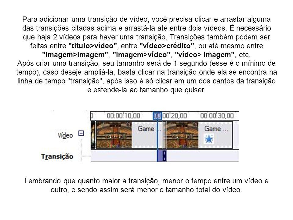 Para adicionar uma transição de vídeo, você precisa clicar e arrastar alguma das transições citadas acima e arrastá-la até entre dois vídeos. É necess