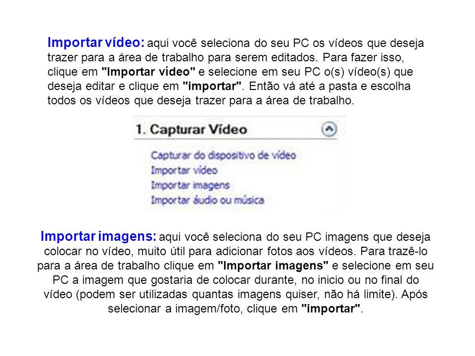 Importar vídeo: aqui você seleciona do seu PC os vídeos que deseja trazer para a área de trabalho para serem editados. Para fazer isso, clique em