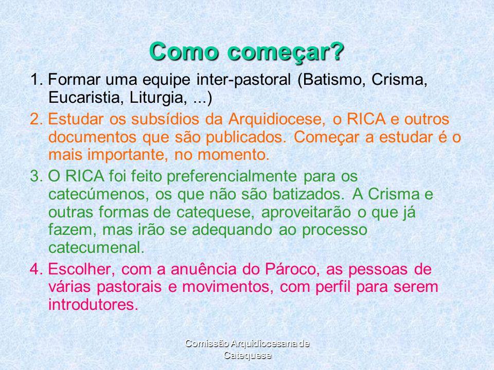 Comissão Arquidiocesana de Catequese Como começar.