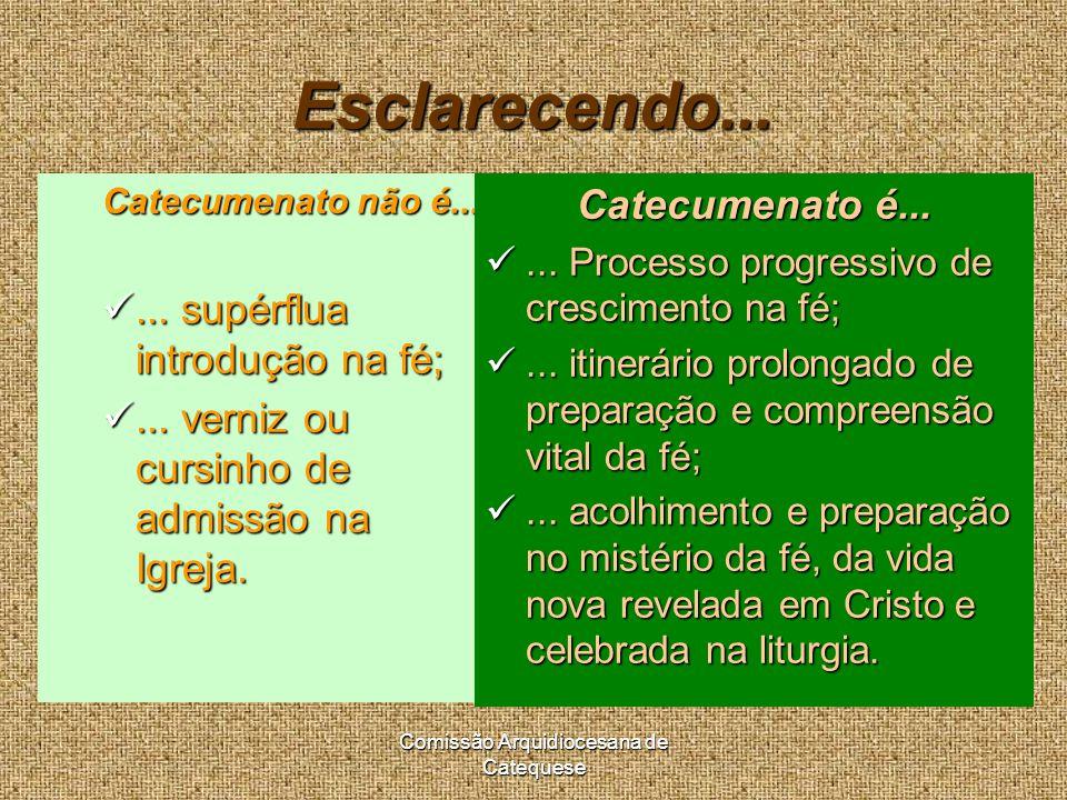 Comissão Arquidiocesana de Catequese Esclarecendo...