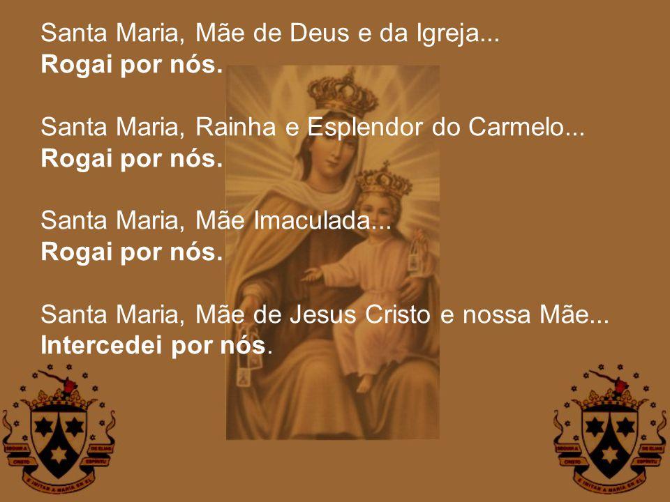 Santa Maria, Mãe de Deus e da Igreja... Rogai por nós. Santa Maria, Rainha e Esplendor do Carmelo... Rogai por nós. Santa Maria, Mãe Imaculada... Roga