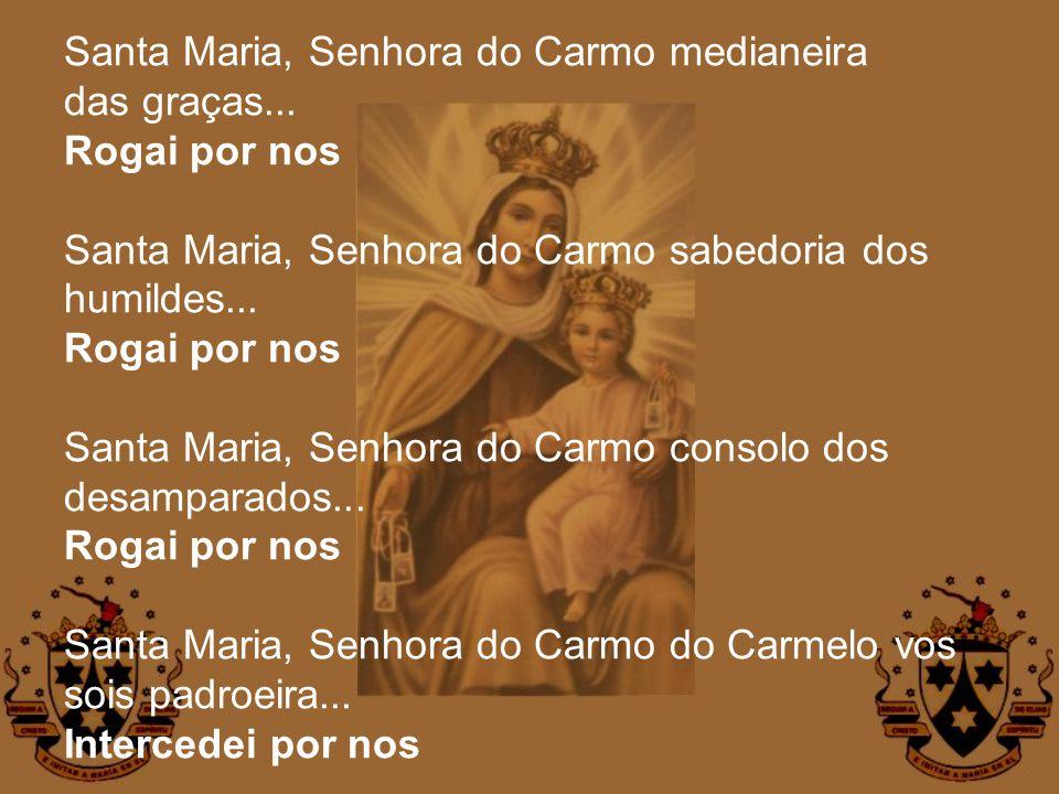Santa Maria, Senhora do Carmo medianeira das graças... Rogai por nos Santa Maria, Senhora do Carmo sabedoria dos humildes... Rogai por nos Santa Maria