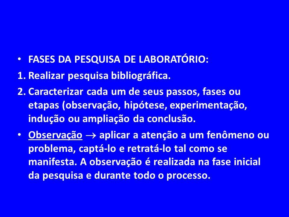 FASES DA PESQUISA DE LABORATÓRIO: 1.Realizar pesquisa bibliográfica. 2.Caracterizar cada um de seus passos, fases ou etapas (observação, hipótese, exp