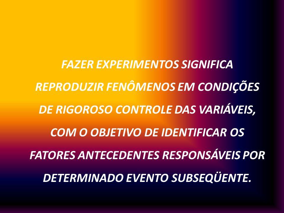 FAZER EXPERIMENTOS SIGNIFICA REPRODUZIR FENÔMENOS EM CONDIÇÕES DE RIGOROSO CONTROLE DAS VARIÁVEIS, COM O OBJETIVO DE IDENTIFICAR OS FATORES ANTECEDENT