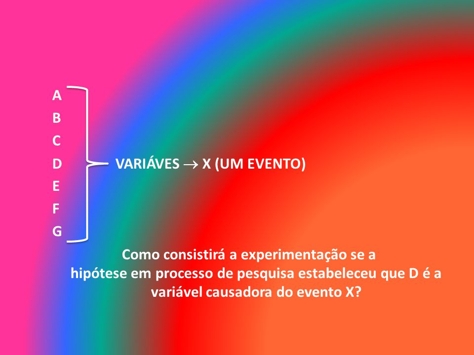 A B C D VARIÁVES X (UM EVENTO) E F G Como consistirá a experimentação se a hipótese em processo de pesquisa estabeleceu que D é a variável causadora d