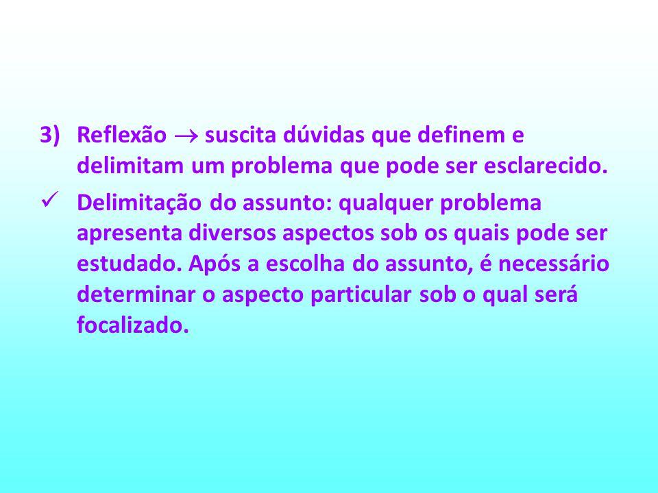 3)Reflexão suscita dúvidas que definem e delimitam um problema que pode ser esclarecido. Delimitação do assunto: qualquer problema apresenta diversos