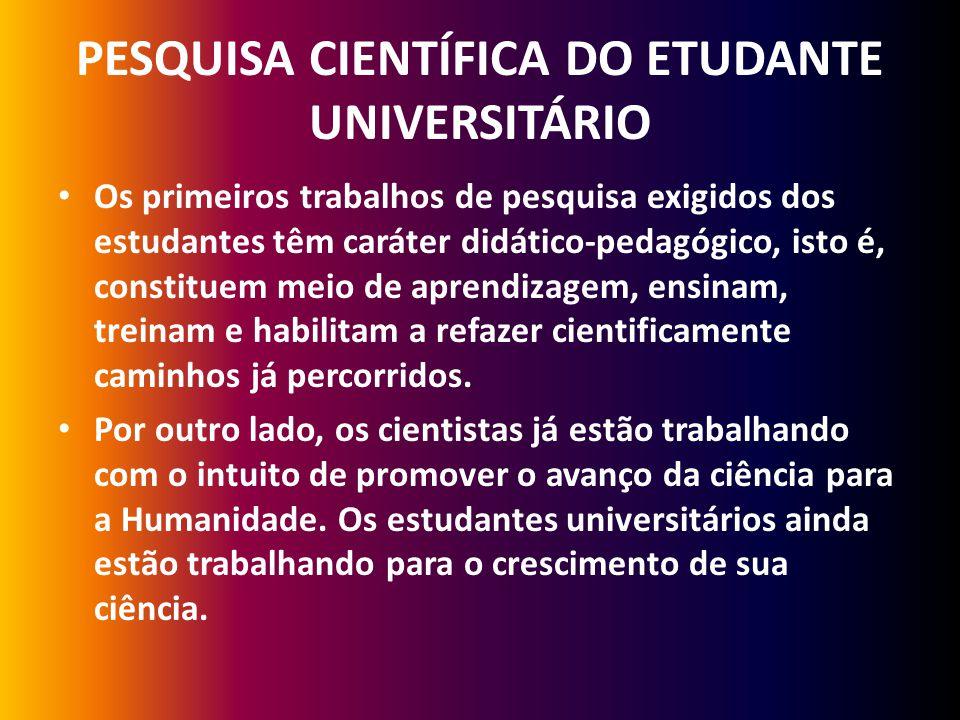 PESQUISA CIENTÍFICA DO ETUDANTE UNIVERSITÁRIO Os primeiros trabalhos de pesquisa exigidos dos estudantes têm caráter didático-pedagógico, isto é, cons