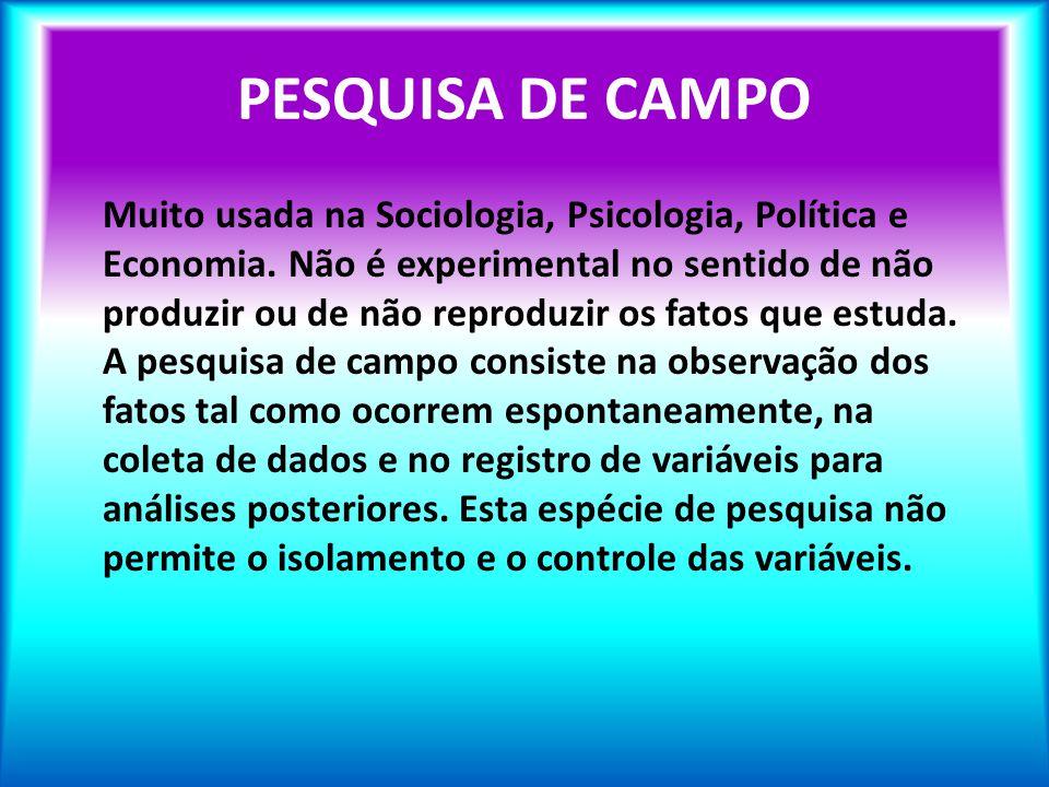 PESQUISA DE CAMPO Muito usada na Sociologia, Psicologia, Política e Economia. Não é experimental no sentido de não produzir ou de não reproduzir os fa