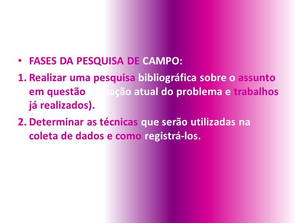 FASES DA PESQUISA DE CAMPO: 1.Realizar uma pesquisa bibliográfica sobre o assunto em questão (situação atual do problema e trabalhos já realizados). 2