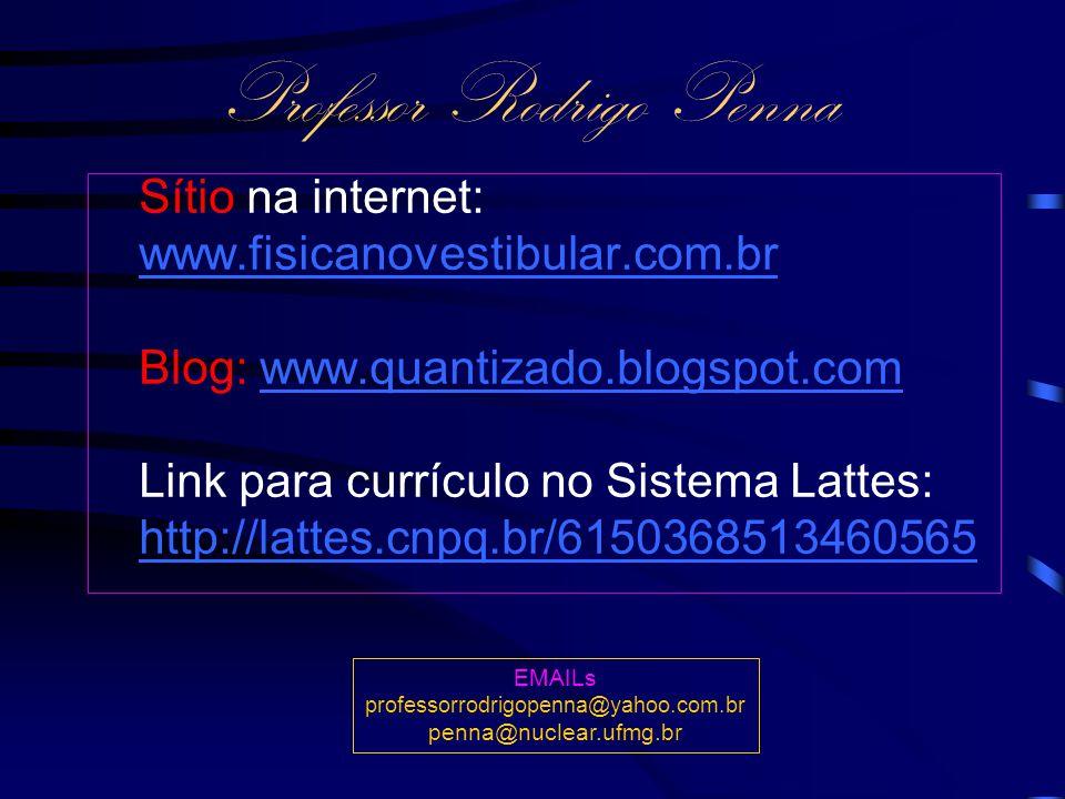 Professor Rodrigo Penna Sítio na internet: www.fisicanovestibular.com.brwww.fisicanovestibular.com.br Blog: www.quantizado.blogspot.comwww.quantizado.blogspot.com Link para currículo no Sistema Lattes: http://lattes.cnpq.br/6150368513460565 EMAILs professorrodrigopenna@yahoo.com.br penna@nuclear.ufmg.br