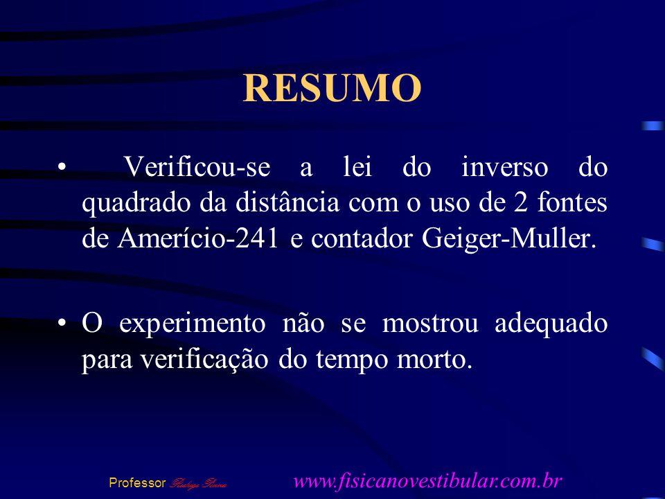 RESUMO Verificou-se a lei do inverso do quadrado da distância com o uso de 2 fontes de Amerício-241 e contador Geiger-Muller.