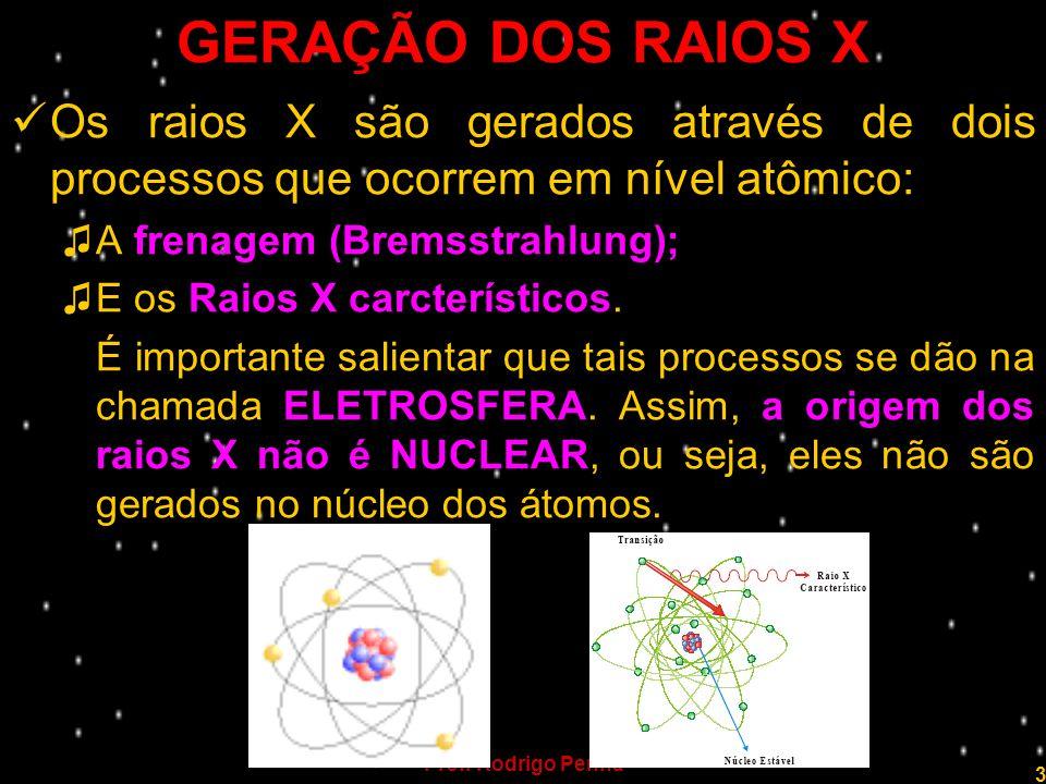Prof. Rodrigo Penna 3 GERAÇÃO DOS RAIOS X Os raios X são gerados através de dois processos que ocorrem em nível atômico: A frenagem (Bremsstrahlung);