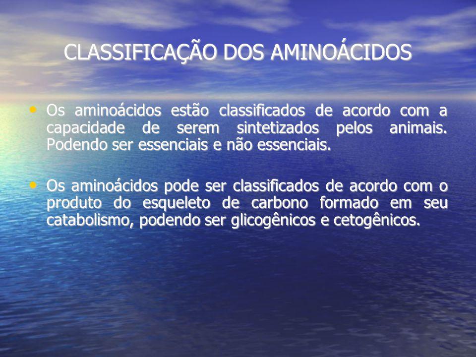 CLASSIFICAÇÃO DOS AMINOÁCIDOS Os aminoácidos estão classificados de acordo com a capacidade de serem sintetizados pelos animais.