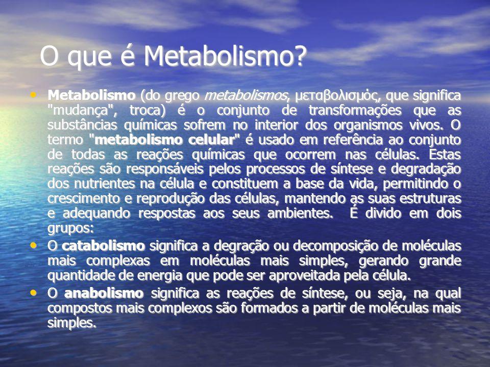 O que é Metabolismo? Metabolismo (do grego metabolismos, μεταβολισμός, que significa