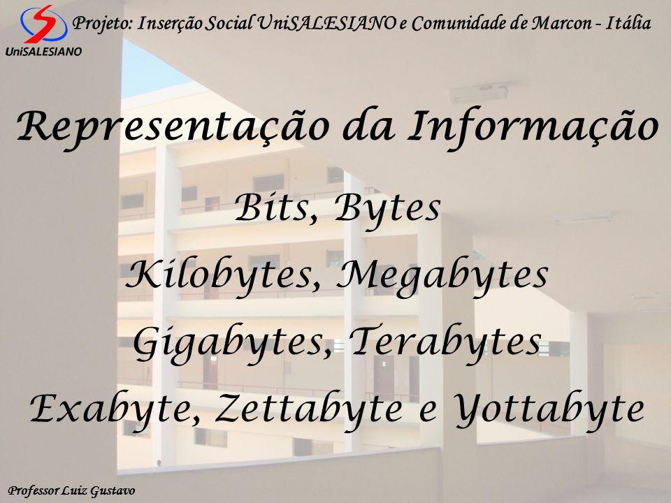 Professor Luiz Gustavo Projeto: Inserção Social UniSALESIANO e Comunidade de Marcon - Itália Bits, Bytes Kilobytes, Megabytes Gigabytes, Terabytes Exa