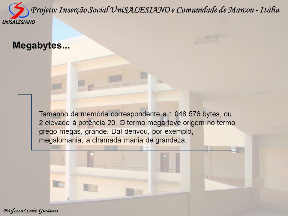 Professor Luiz Gustavo Projeto: Inserção Social UniSALESIANO e Comunidade de Marcon - Itália Megabytes... Tamanho de memória correspondente a 1 048 57