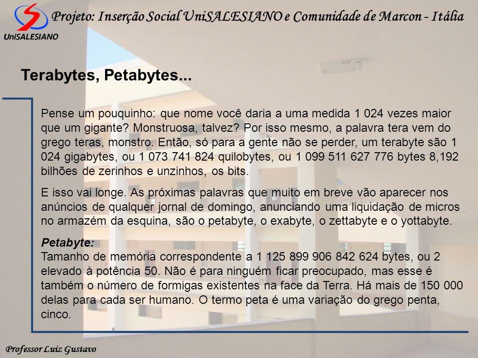 Professor Luiz Gustavo Projeto: Inserção Social UniSALESIANO e Comunidade de Marcon - Itália Terabytes, Petabytes... Pense um pouquinho: que nome você