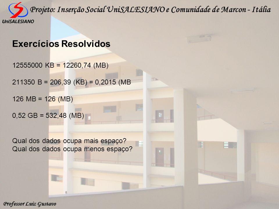 Professor Luiz Gustavo Projeto: Inserção Social UniSALESIANO e Comunidade de Marcon - Itália 12555000 KB = 12260,74 (MB) 211350 B = 206,39 (KB) = 0,20