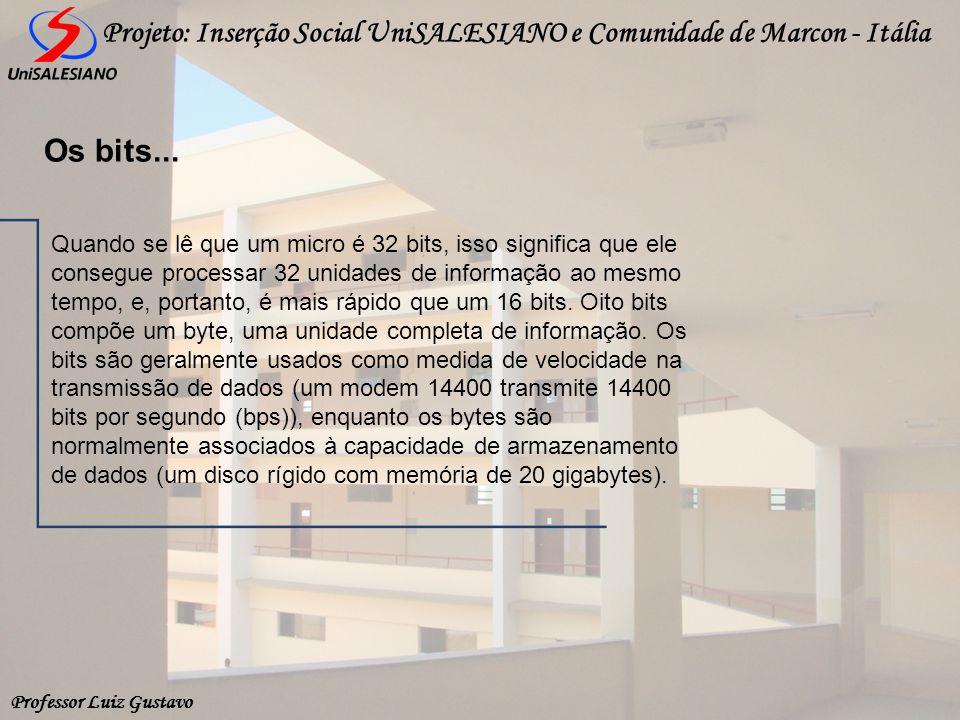 Professor Luiz Gustavo Projeto: Inserção Social UniSALESIANO e Comunidade de Marcon - Itália Quando se lê que um micro é 32 bits, isso significa que e