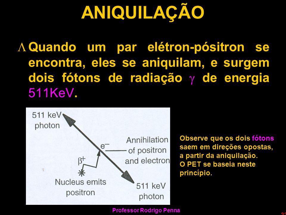 Professor Rodrigo Penna 23 ANIQUILAÇÃO LQuando um par elétron-pósitron se encontra, eles se aniquilam, e surgem dois fótons de radiação de energia 511
