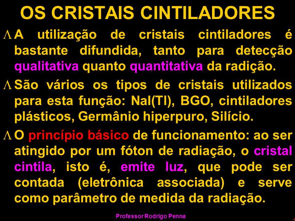 Professor Rodrigo Penna 3 OS CRISTAIS CINTILADORES LA utilização de cristais cintiladores é bastante difundida, tanto para detecção qualitativa quanto