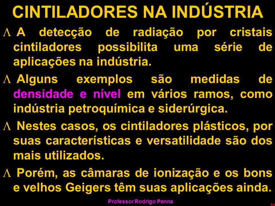 Professor Rodrigo Penna 39 CINTILADORES NA INDÚSTRIA L A detecção de radiação por cristais cintiladores possibilita uma série de aplicações na indústr