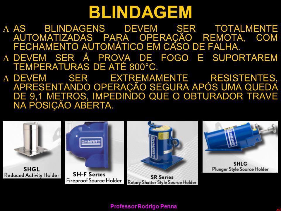 Professor Rodrigo Penna 49 BLINDAGEM LAS BLINDAGENS DEVEM SER TOTALMENTE AUTOMATIZADAS PARA OPERAÇÃO REMOTA, COM FECHAMENTO AUTOMÁTICO EM CASO DE FALH