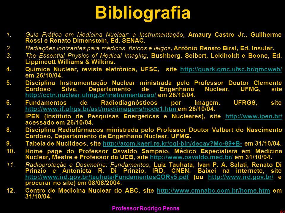 Professor Rodrigo Penna 53 Bibliografia 1.Guia Prático em Medicina Nuclear: a Instrumentação, Amaury Castro Jr., Guilherme Rossi e Renato Dimenstein,