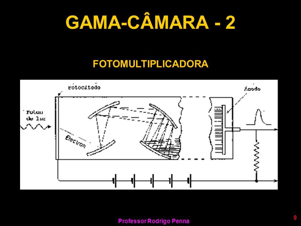 Professor Rodrigo Penna 30 DESCRIÇÃO - 2 LNuma câmara PET, os detectores (cristais cintiladores como na cintilografia!) são construídos em posições opostas.