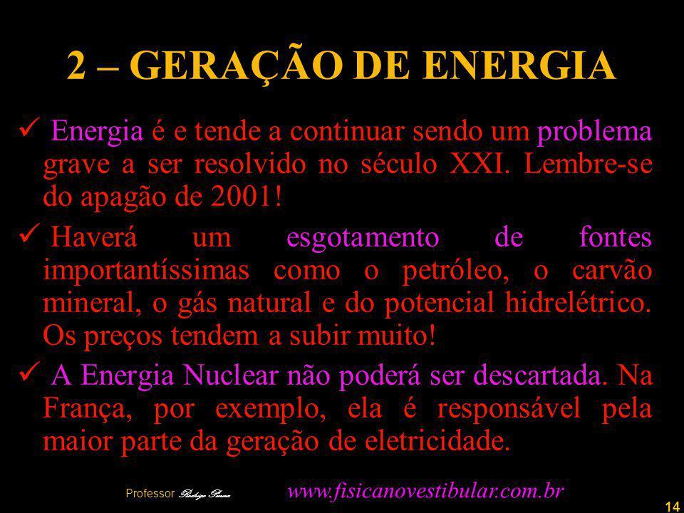14 2 – GERAÇÃO DE ENERGIA Energia é e tende a continuar sendo um problema grave a ser resolvido no século XXI.