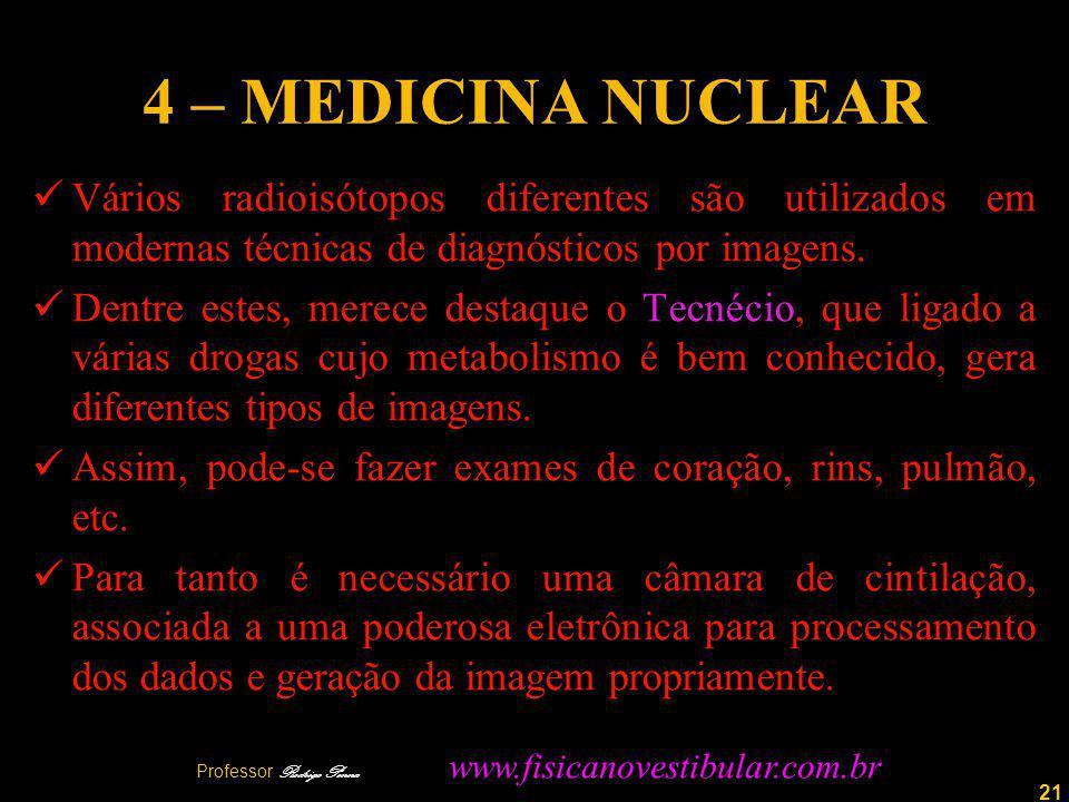 21 4 – MEDICINA NUCLEAR Vários radioisótopos diferentes são utilizados em modernas técnicas de diagnósticos por imagens.