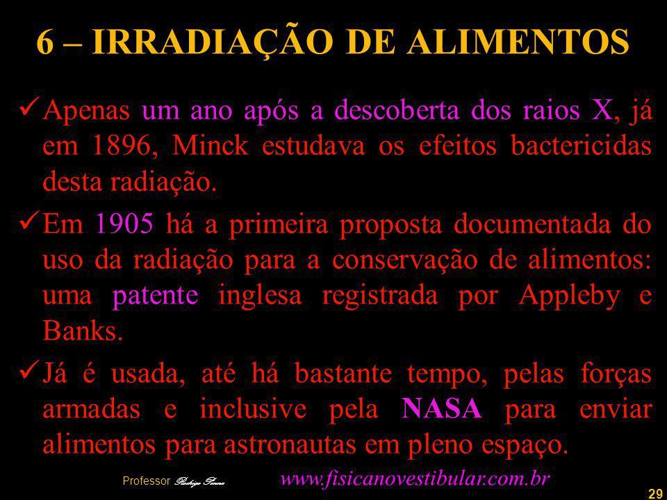 29 6 – IRRADIAÇÃO DE ALIMENTOS Apenas um ano após a descoberta dos raios X, já em 1896, Minck estudava os efeitos bactericidas desta radiação.