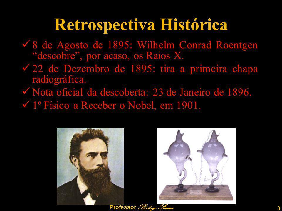 3 Professor Rodrigo Penna Retrospectiva Histórica 8 de Agosto de 1895: Wilhelm Conrad Roentgen descobre, por acaso, os Raios X.