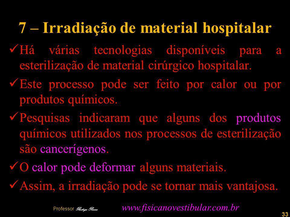 33 7 – Irradiação de material hospitalar Há várias tecnologias disponíveis para a esterilização de material cirúrgico hospitalar.