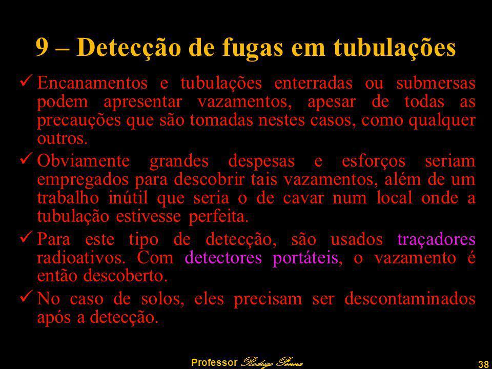 38 Professor Rodrigo Penna 9 – Detecção de fugas em tubulações Encanamentos e tubulações enterradas ou submersas podem apresentar vazamentos, apesar de todas as precauções que são tomadas nestes casos, como qualquer outros.