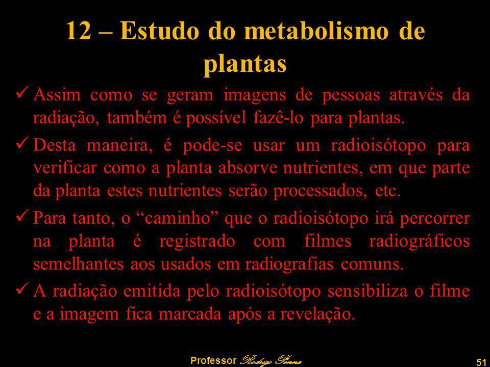 51 Professor Rodrigo Penna 12 – Estudo do metabolismo de plantas Assim como se geram imagens de pessoas através da radiação, também é possível fazê-lo para plantas.