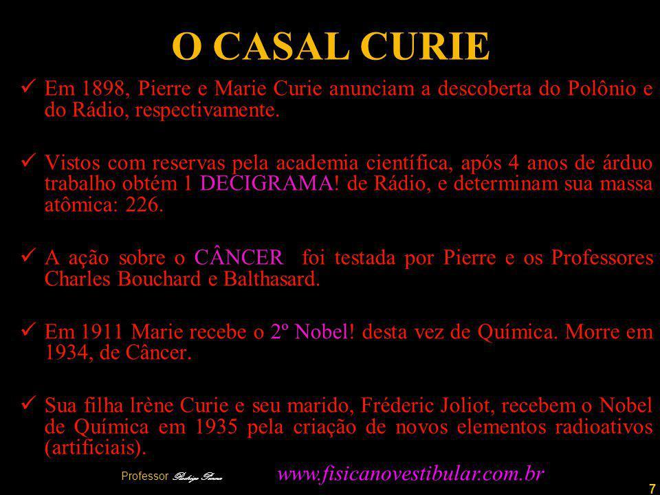 7 O CASAL CURIE Em 1898, Pierre e Marie Curie anunciam a descoberta do Polônio e do Rádio, respectivamente.