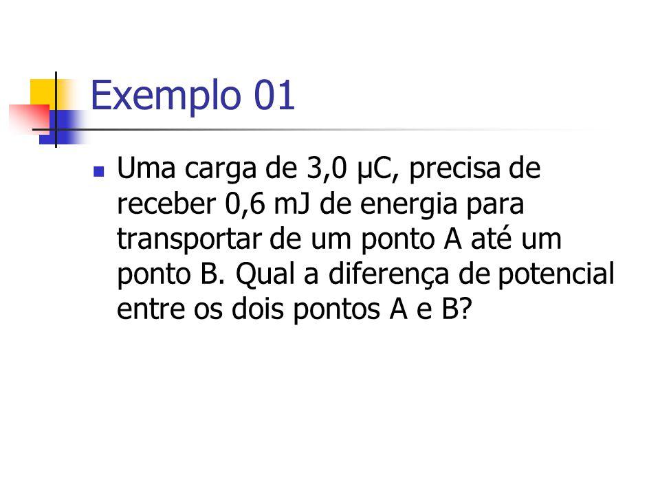 Exemplo 01 Uma carga de 3,0 μC, precisa de receber 0,6 mJ de energia para transportar de um ponto A até um ponto B.