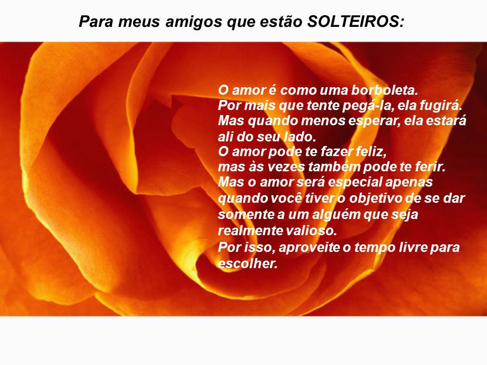 Para meus amigos que estão SOLTEIROS: O amor é como uma borboleta.