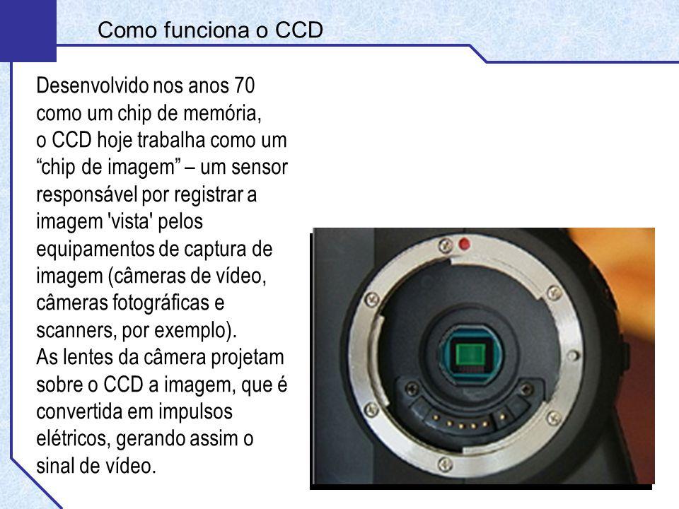 Desenvolvido nos anos 70 como um chip de memória, o CCD hoje trabalha como um chip de imagem – um sensor responsável por registrar a imagem vista pelos equipamentos de captura de imagem (câmeras de vídeo, câmeras fotográficas e scanners, por exemplo).