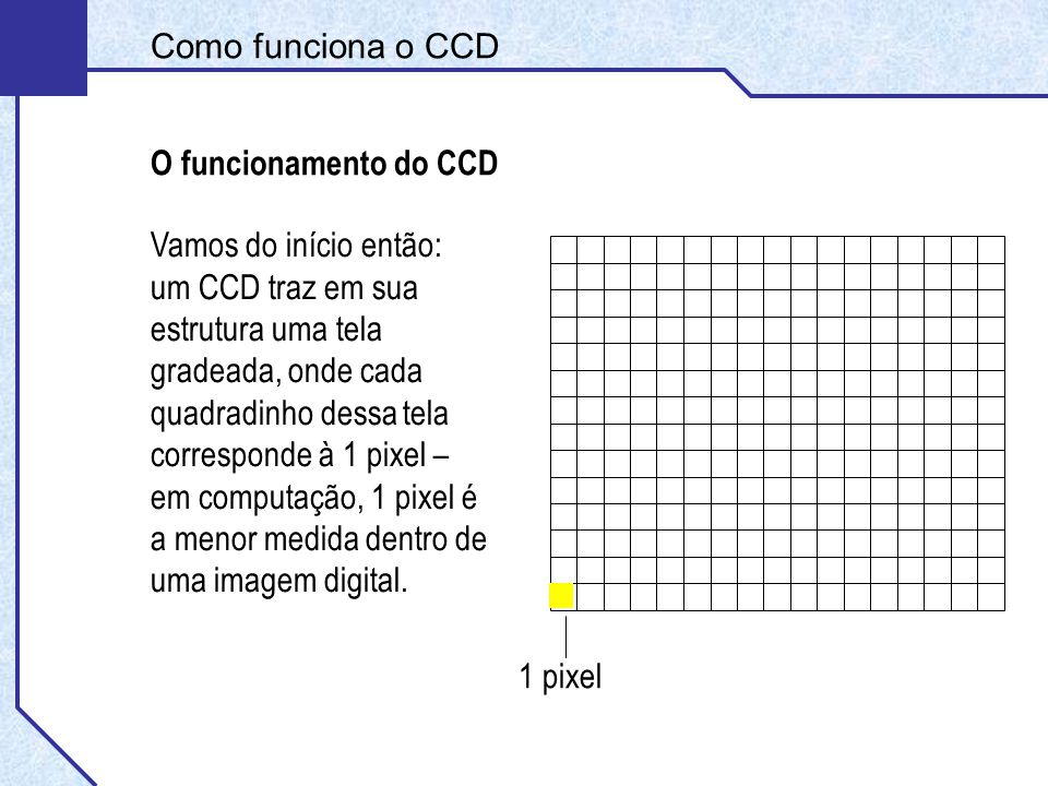 Como funciona o CCD O funcionamento do CCD Vamos do início então: um CCD traz em sua estrutura uma tela gradeada, onde cada quadradinho dessa tela corresponde à 1 pixel – em computação, 1 pixel é a menor medida dentro de uma imagem digital.